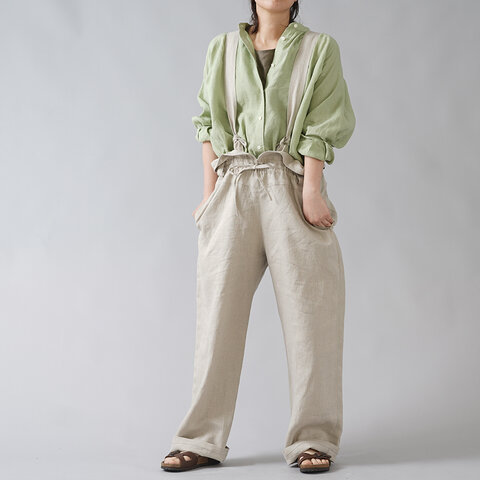 【wafu】男女兼用 無骨なリネンサロペット オーバーオール オールインワン/亜麻ナチュラル b022b-amn2