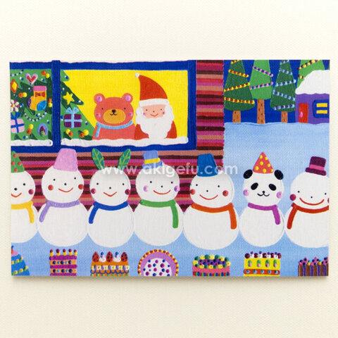 油絵「雪だるま」ポストカード2枚セット