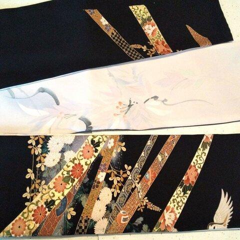 正絹・兵児半巾帯(黒と小紋)当店オリジナル品・再販はありません