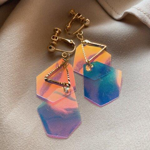 夏の幾何学ピアス( blue )