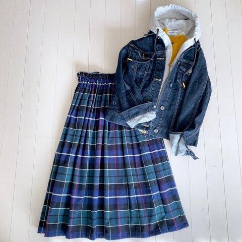 タータンチェックギャザースカート ブルー
