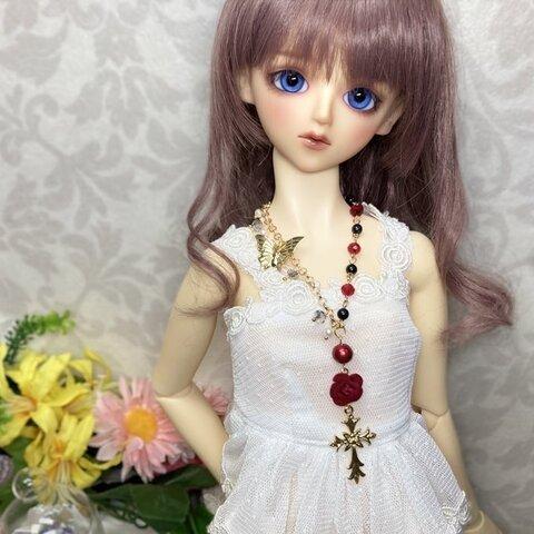 薔薇とロザリオのネックレス