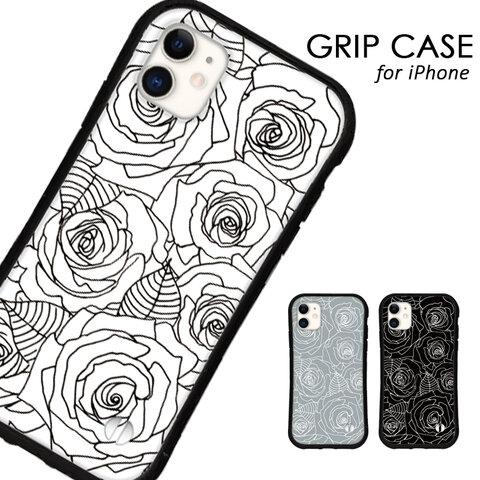 送料無料 iPhoneケース iPhone13 12 pro mini iPhone11 xr xs se 第二世代 iface型 カバー スマホケース グリップケース アイフォン 花 薔薇