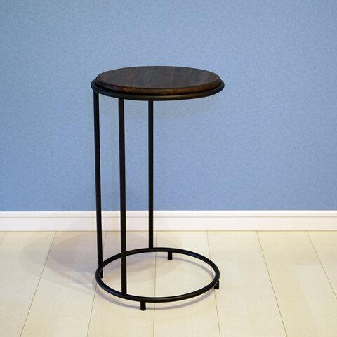 【こんなサイドテーブル欲しかった!!】高さ選べる!!天然木×アイアンW32×D32×H20(cm)~60(cm)