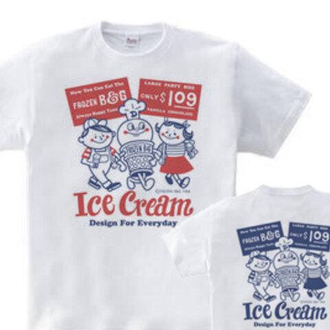 【再々販】アイスクリームBoy&Girl☆アメリカンレトロ 両面 WM~WL•S~XL Tシャツ【受注生産品