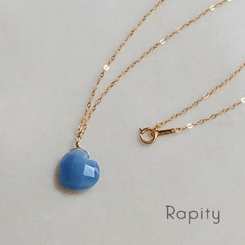 14kgf☆天然石ブルーオパール ハート型 ネックレス