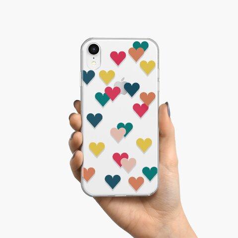 ハート舞い散る クリア スマホケース iPhone android アンドロイド CA0171