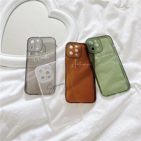 【秋色】オーダーメイド 文字入れ iPhone13  iPhone13pro iPhone12 iPhone12pro PhoneSE  クリアケース