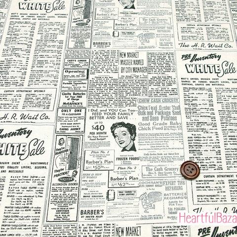 [再入荷] USAコットン moda Modern Background Paper 生地 布 英字新聞