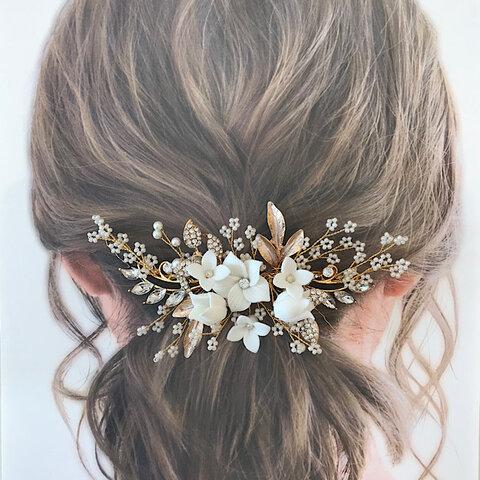 PH01 小枝 ウェディング ヘッドドレス ブライダル ヘア アクセサリー リーフ 花 小枝 ゴールド 結婚式 花嫁 ティアラ