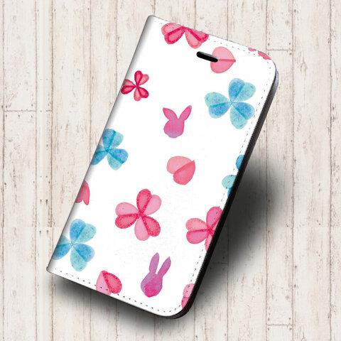 iPhone 専用 フラップ無し手帳型ケース★坂本奈緒 ★ うさぎと春のお花 三つ葉