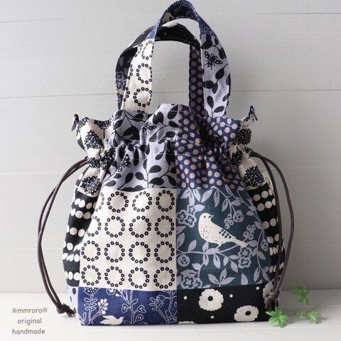 鳥と森 大人の可愛いパッチ柄 巾着バッグ