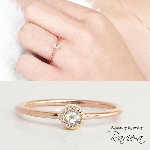 ダイヤモンド 1粒リング 指輪 K10 イエローゴールド ローズカット ミルデザイン ラウンド 婚約指輪 バースデープレゼント