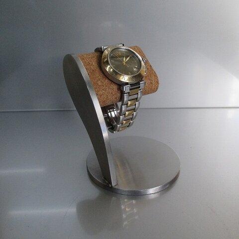 腕時計 飾る ヘアーライン仕上げコルクシングル腕時計スタンド 190127