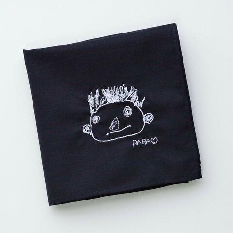 【オーダー刺繍】コットンネイビーハンカチ