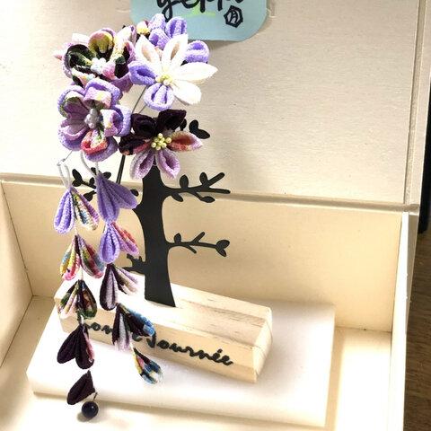 つまみ細工 髪飾り 紫ver.