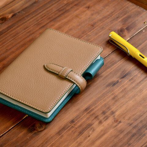 名入れ可【お好きな色で製作】イタリアンレザー ベルト留めほぼ日手帳カバー  A6サイズ