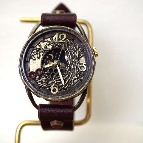 フクロウ ワインブラウン 手作り腕時計