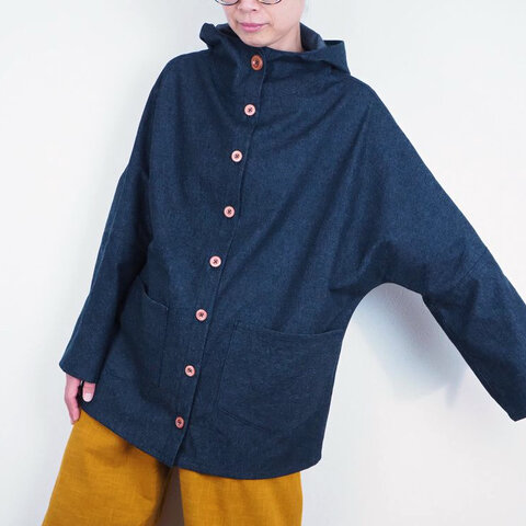 薄デニムフードボタンジャケット(綿 8オンスデニム)【受注生産対応】