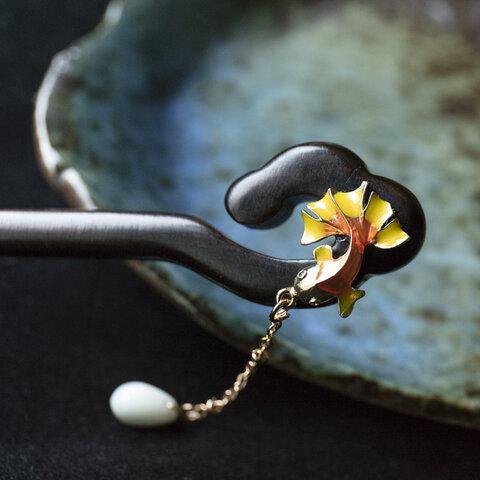 金魚のかんざし 木製 黒檀 簪