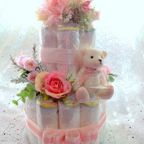 おむつケーキ 2段 pink パンパースMサイズ