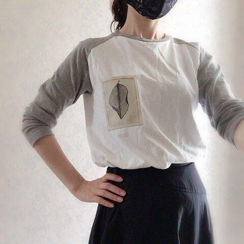 2020新作-アートラグラン長袖Tシャツー銅版版画ー『葉』ー男女兼用