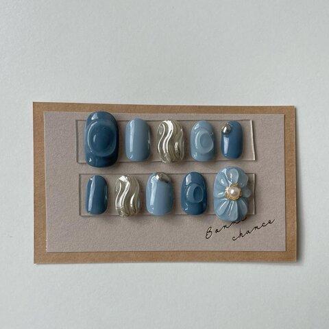 ネイルチップ 寒色ネイル ぷくぷくネイル ミラーネイル ジェルネイル 水色 花 ぷっくり 青色 うねうねネイル