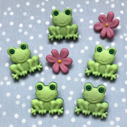 アメリカ ガローアボタン カエルとフラワー 7個 2479 蛙 花