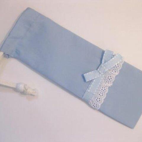ハサミ・定規・ハーモニカ・リコーダー巾着 水色リボン