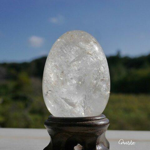 天然石キラキラ虹入り水晶(ブラジル産)約85g約49×35mmエッグ型 研磨石たまごお守り鉱物テラリウム素材[qzeg-211013-02]