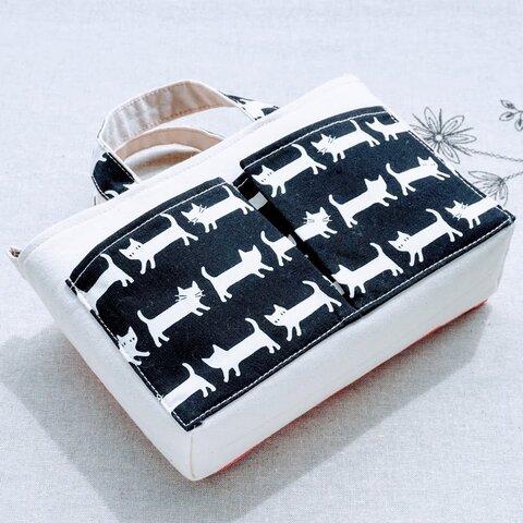 バッグインバッグ B-S15(ネコモチーフ、生成り帆布)