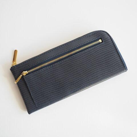 <送料無料>薄くて軽くて大容量な長財布 14ZipWallet リザードネイビー Squeeze 日本製