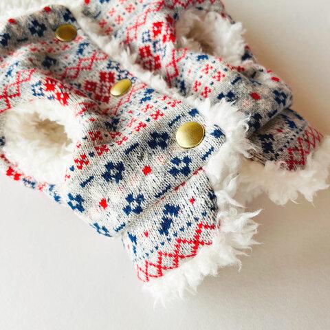 花柄フォークロアの冬ベスト/コート/犬服