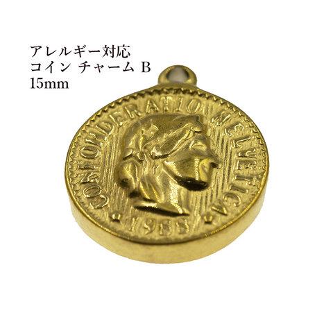 [ 2個 ] サージカルステンレス コイン チャーム B《 15mm 》 [ ゴールド 金 ] パーツ 金属アレルギー対応