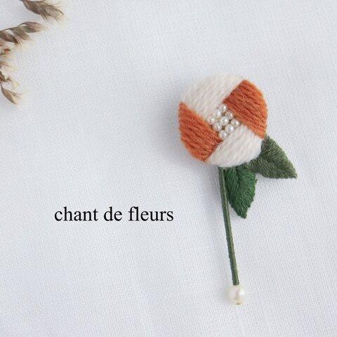 ˗ˏˋオレンジˎˊ˗ ウール 𖧷 花 ブローチ 𖧷 バイカラー