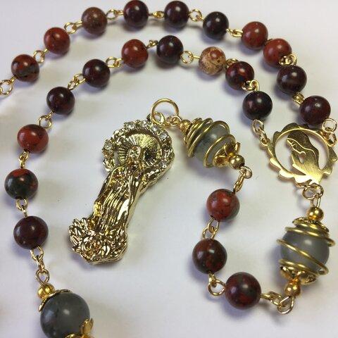 ロザリオ【1点限定】(65)ブラッドストーン&レッドジャスパー パワーストーン Rosary,Catholic,Prayer Beads, Holy Rosary,Healing,Relaxing