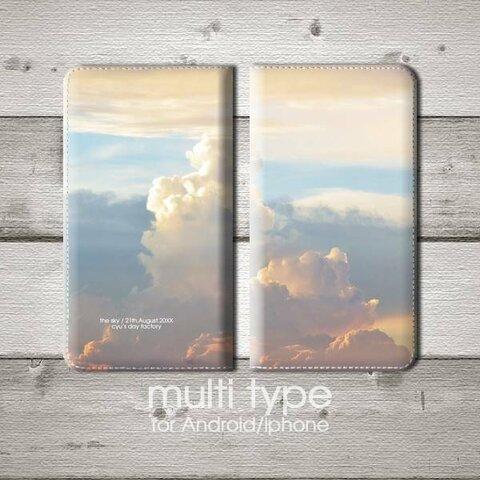 ある年の8月21日の空 手帳型マルチスマホケース Android/iphone対応