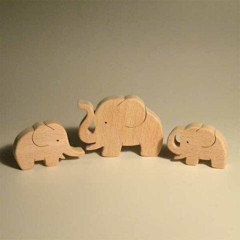 木のパズル 象の親子