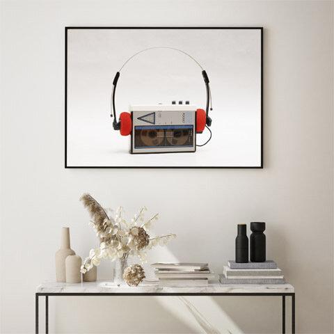 カセットプレーヤー / アートポスター カラー 白黒 インテリア 2L〜 レトロ ヴィンテージ ステレオ ヘッドフォン