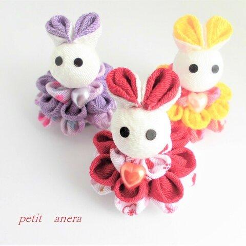 【つまみ細工3セット】ウサギアイドル?小さなちりめん人形セット