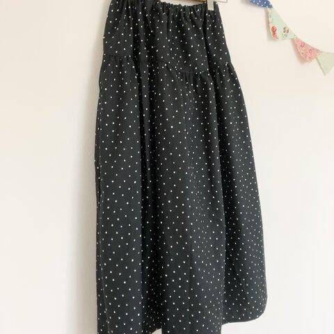 *tiny dot♪ロングティアードスカート(black)*