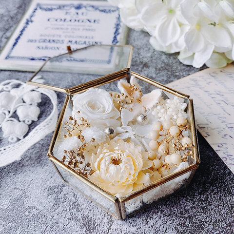 white rose  リングピロー  ガラスケース