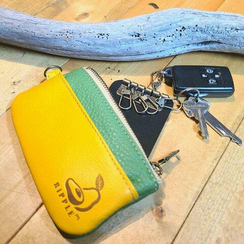 ⭐アボカド配色⭐ぷっくり本革のカード&キーポーチ【avo.leather Card&Key pouch】