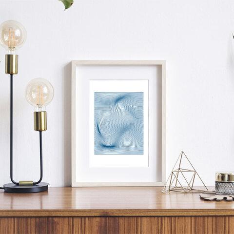 ジオメトリックパターン / アートポスター カラー ミニマル インテリア 2L〜 アブストラクト 幾何学 ホワイト ブルー