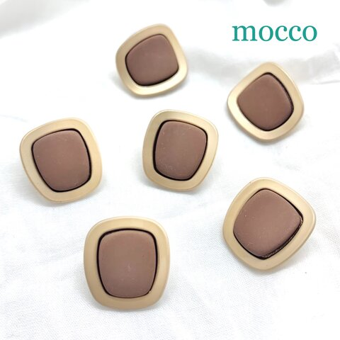 4個*20㎜×18㎜ ボタン コートボタン シャンクボタン カボション マットゴールド ブラウン 茶色