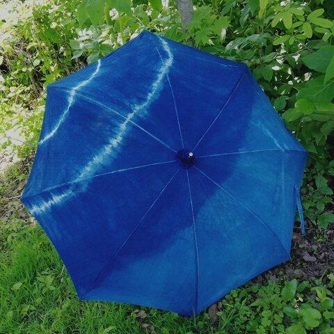 【天然藍染】日傘