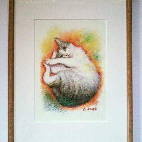 ☆特別価格『フィオナの肖像』(猫のパステル画)