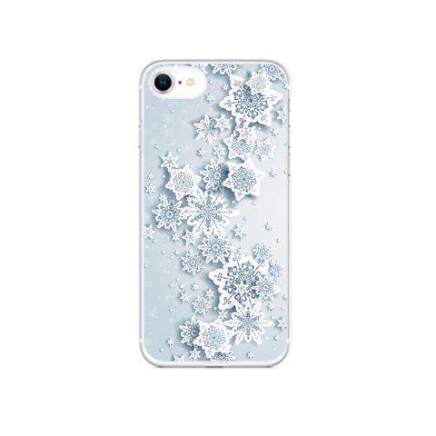 雪の結晶が降り注ぐ表面印刷スマホケース①