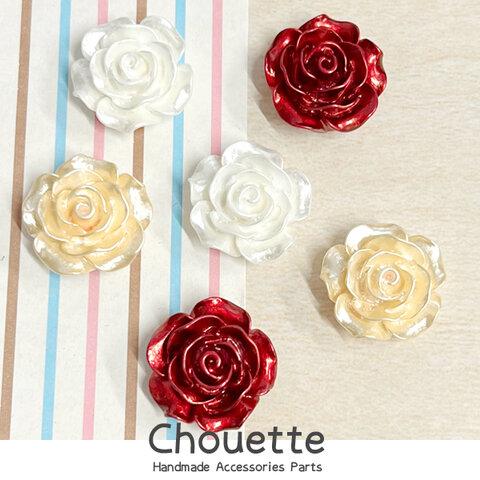 全品送料無料 デコパーツ バラ お花 3色各2個計6個 ミックス 子供 キッズ ハンドメイド 装飾 手芸材料 pt-1634