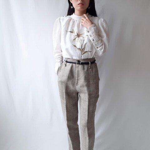 【Mサイズ リネン刺繍ブラウス】White lily